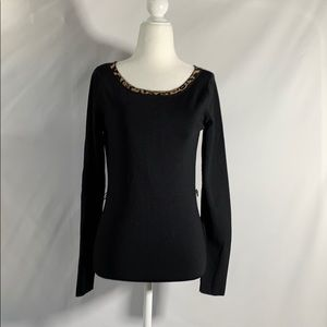 Carmen Black Rayon Sweater with Belt Clips